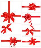 nagy készlet együtt kanyarog piros ajándék íjak. vektor.