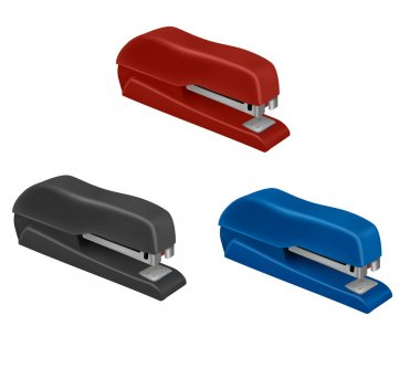 Black and red and blue staplers