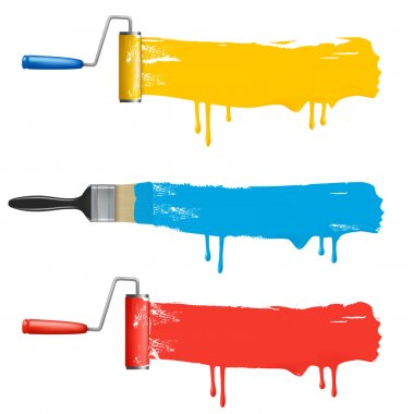 Set of colorful paint roller brushes. Vector illustration.