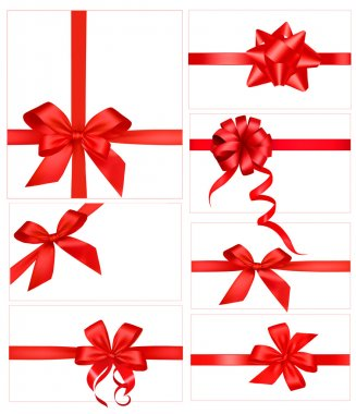 Big set of red gift bows with ribbons. Vector. stock vector