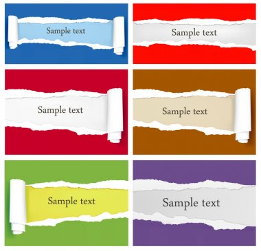 Set of ripped colorful paper backgrounds. Vector illustration