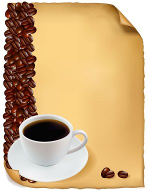 Design with cup of coffee and coffee grains. Vector.
