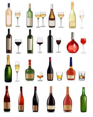 Set of different drinks and bottles. Vector illustration.