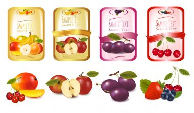 Four labels with berries and fruits. Vector.