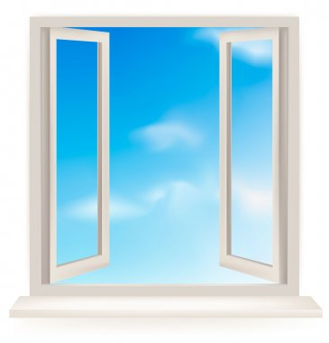 Open window against a white wall and the cloudy sky. Vector