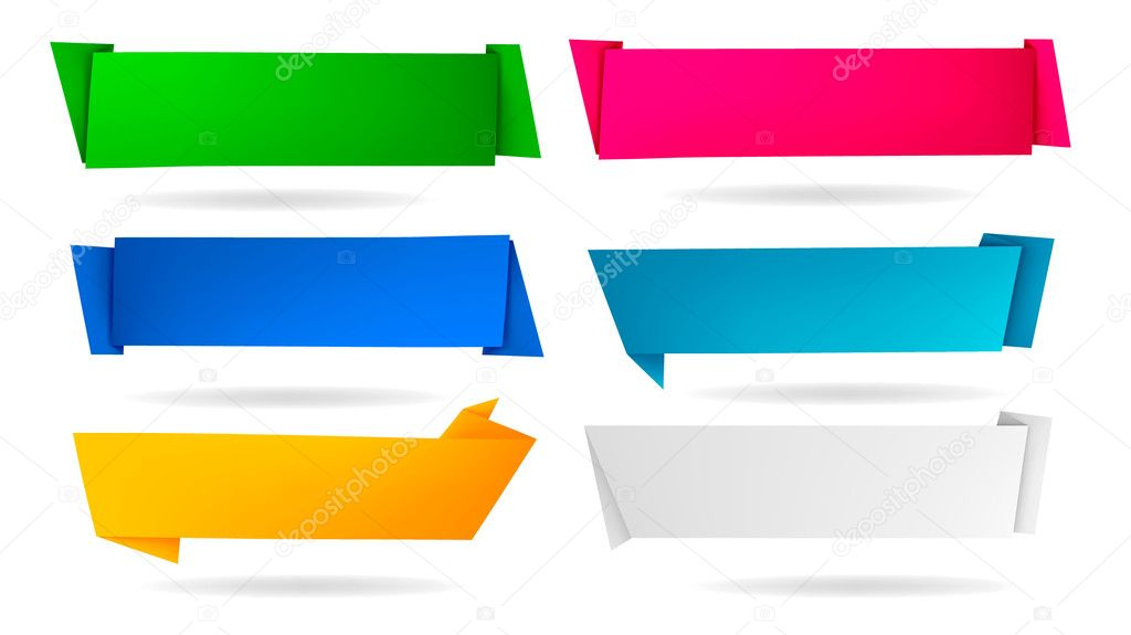 Set with abstract origami speech bubbles. Vector illustration.