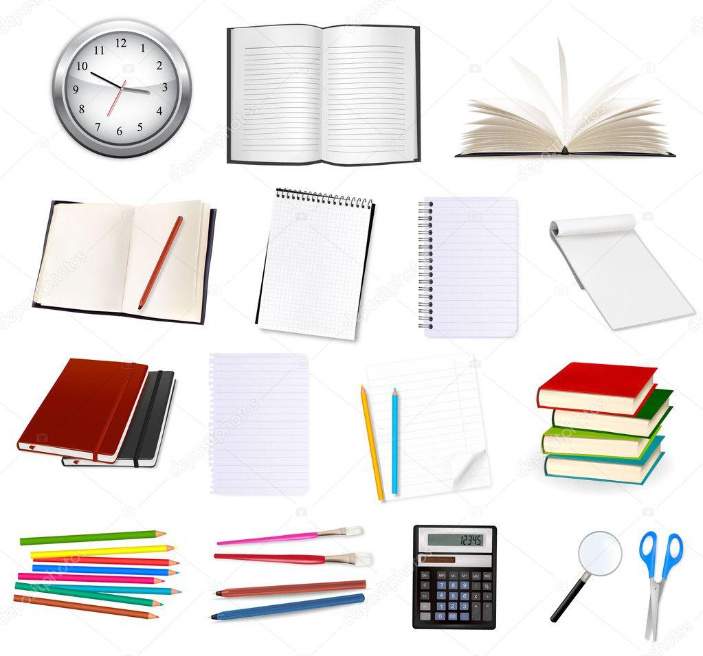 obchodní a kancelářské potřeby. vektorové ilustrace — Stock Vektor ... e9e1ae8fc9