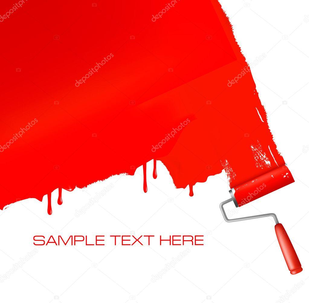 pincel pintando. pincel vermelho, pintando a parede branca \u2014 vetores de stock #7327654 u