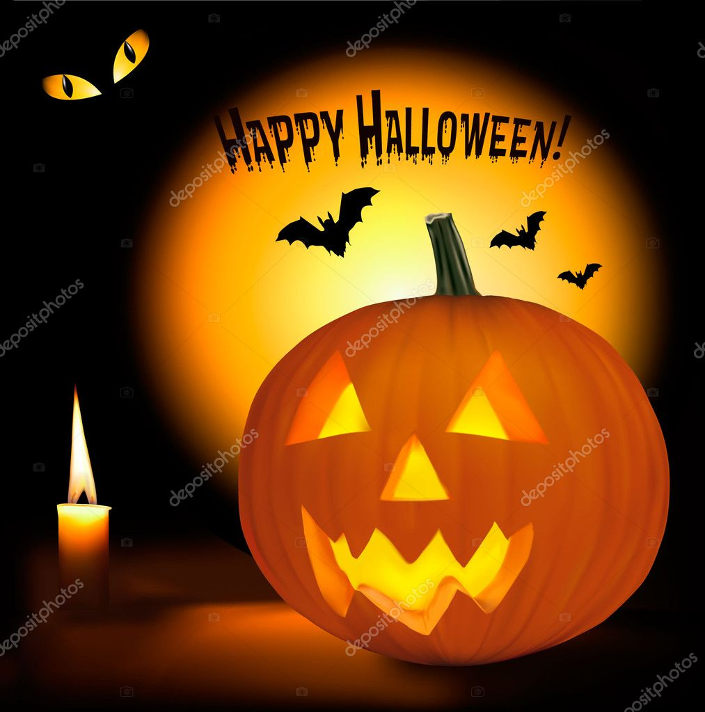 Halloween Background With Scary Pumpkins Bats Cat Eyes And A Candle Vect Stock Vector C Almoond 7327664