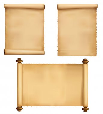 Set of old worn paper backgrounds. Vector.