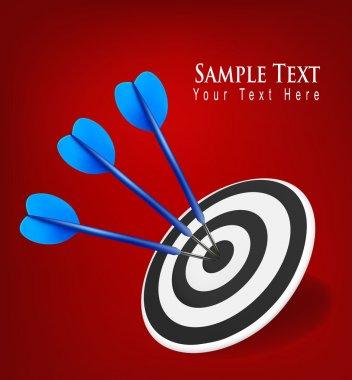 Three darts hitting a target. Success concept. Vector illustration