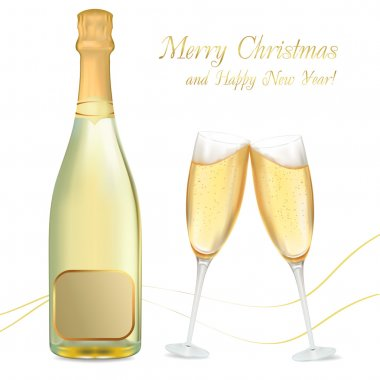 Vector illustration. Two glasses of champagne and bottle