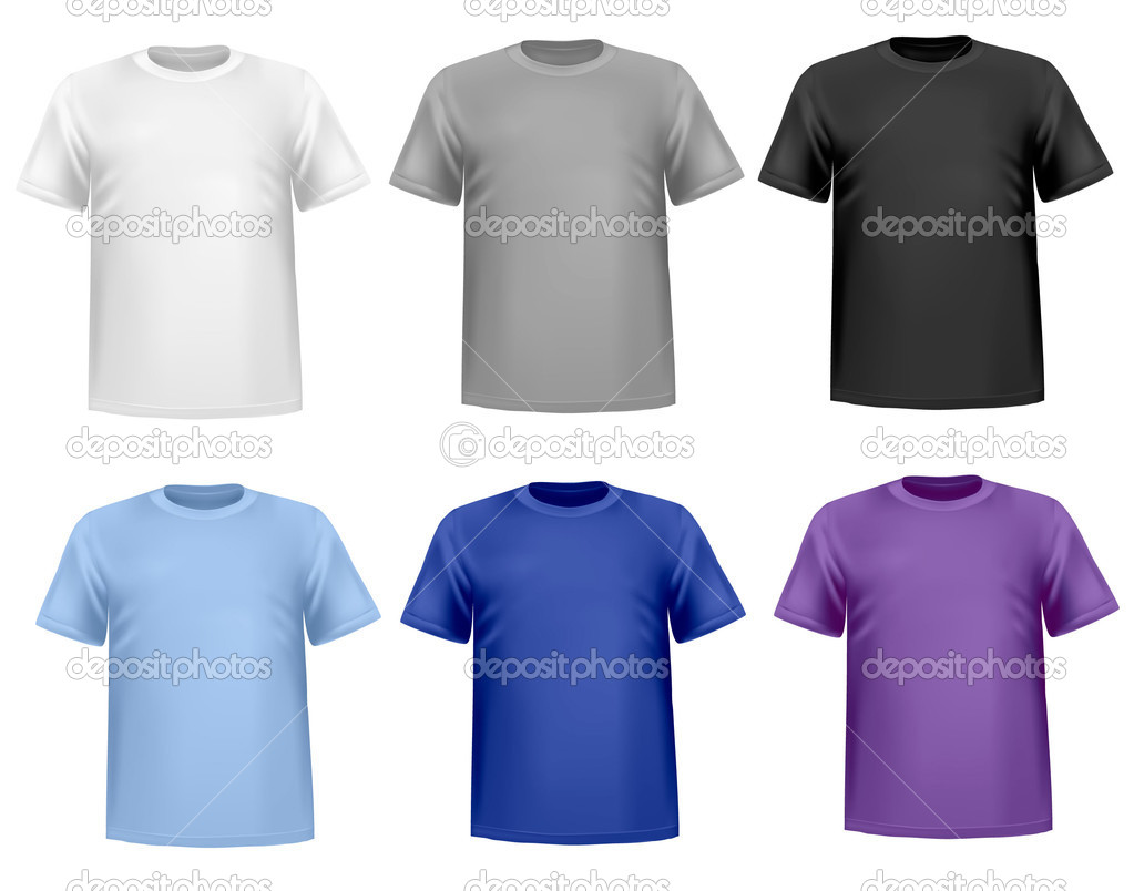 Color and white t-shirt design template. Vector illustration — Stock ...