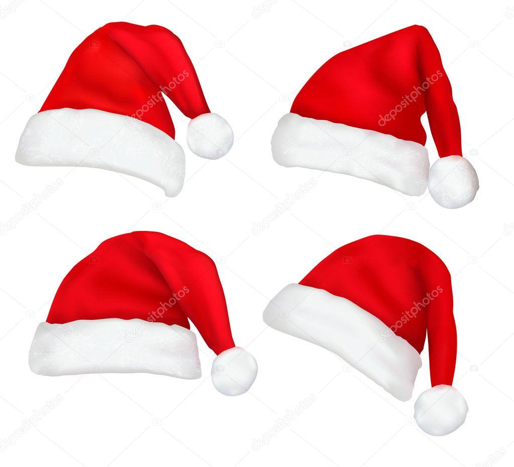 Set of red santa hats. Vector.