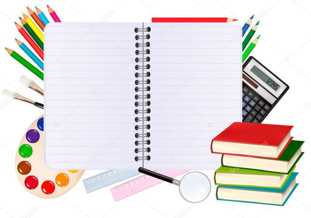 Fondo Utiles Escolares Vector: Voltar Para A Escola. Bloco De Notas Com Material Escolar