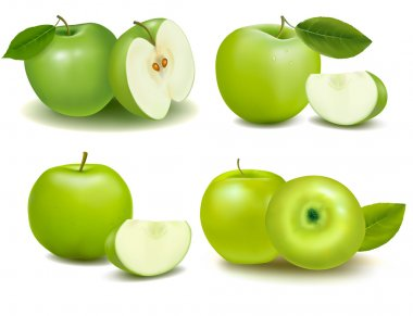 Set of green apple fruits with cut and green leaves. Vector