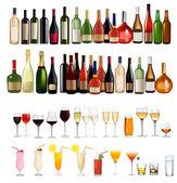 Fotografia set di bottiglie sul muro e bevande. illustrazione vettoriale