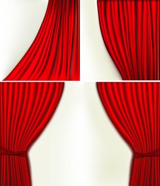 Set of backgrounds with red velvet curtain. Vector illustration.