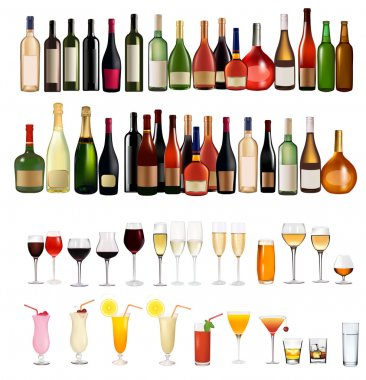 Set of different drinks and bottles on the wall. Vector illustration