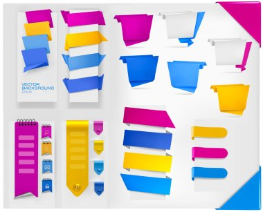 Big collection of colorful origami paper banners and stickers. Vector illus