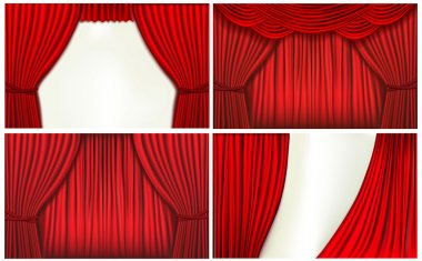 Set of backgrounds with red velvet curtain.