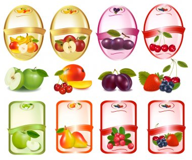 Set of labels with berries and fruit.