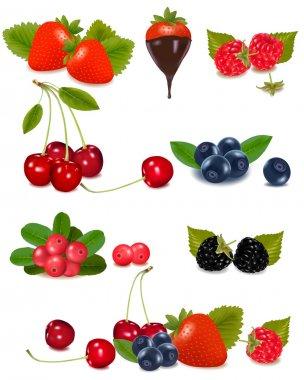 Group of berries and cherries.