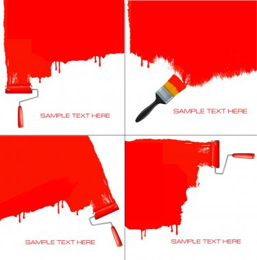 Red roller painting the white wall. Vector.