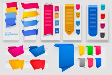 Big collection of colorful origami paper banners and stickers. Vector illustration. clip art vector