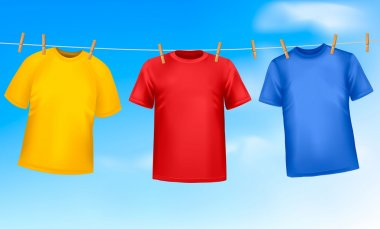 Set of colored t-shirts hanging on a clothesline on a sunny day. Vector ill