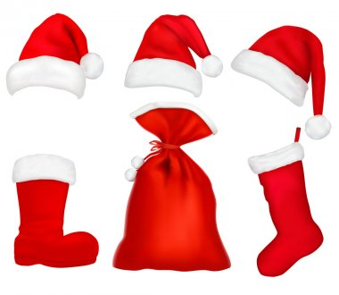Three red santa hats. Christmas stocking and boot and bag.