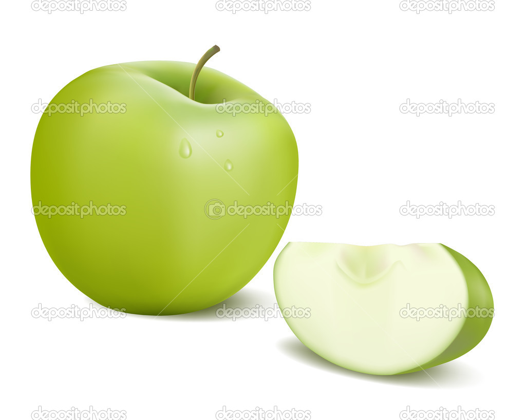 Fresh green apple with green leaf . Vector illustration.