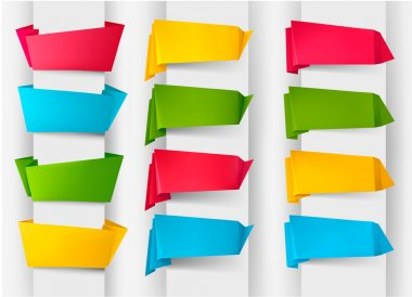 Huge set of colorful origami paper banners. Vector illustration
