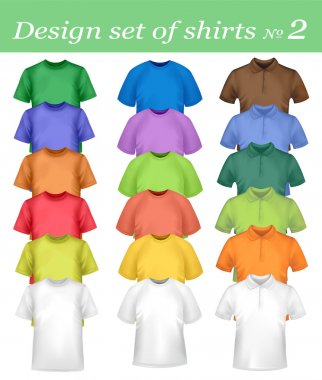 Color and white t-shirt design template. Photo-realistic vector illustratio