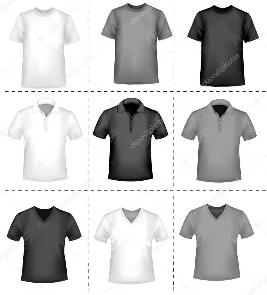 ccb451728a34c Modelo de design de t-shirt preto e branco. ilustração vetorial  foto-realista — Vetor por almoond. Encontrar imagens similares