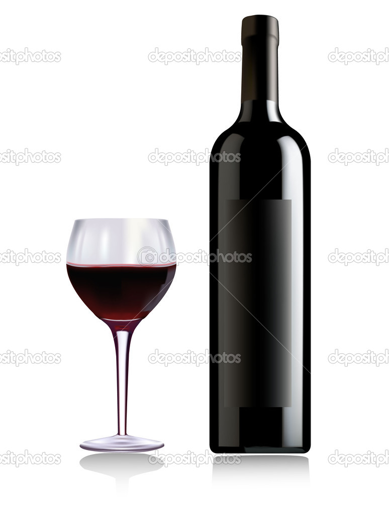 A wine bottle and glass of wine vector stock vector for How to cut the top off a wine bottle