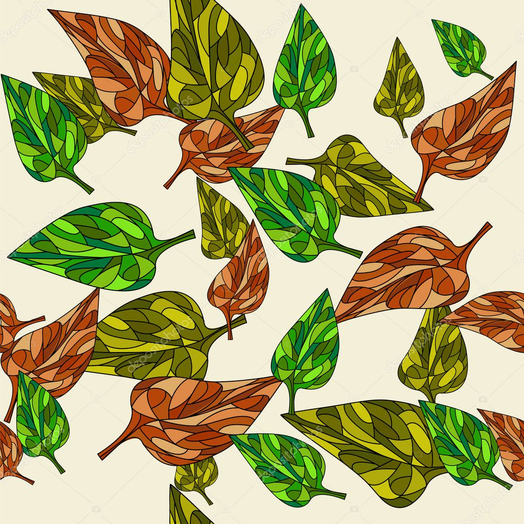 Seamless pattern with ethnic autumn leaf