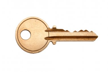 Golden House Key with white background stock vector