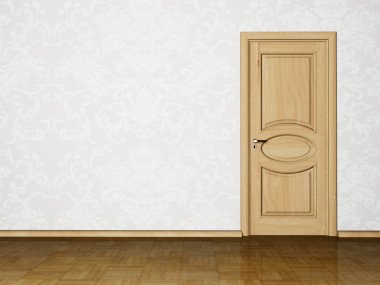Interior design scene with a door