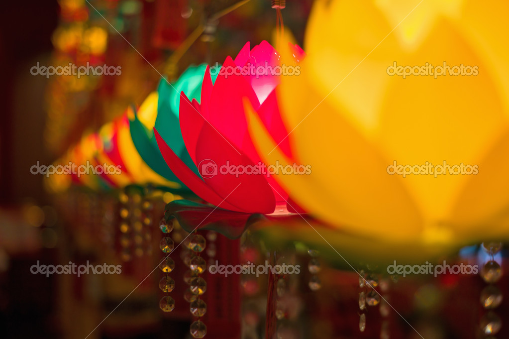 Colorful lotus shaped lamps