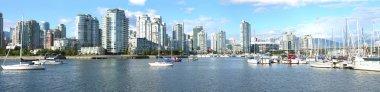 Panorama view of S. Vancouver BC & sailboats in False creek.