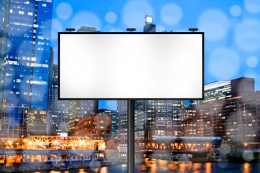 Billboard with Night City Background