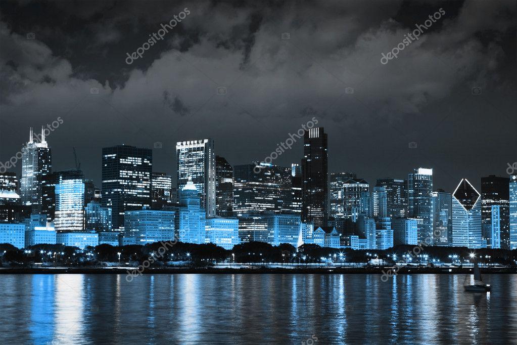 Dark Clouds on Finance District at Night