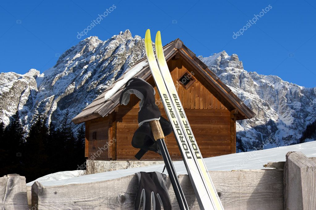 Nordic Skiing - Mountain chalet in winter - Italy Alps
