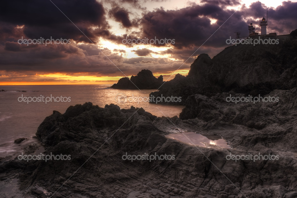 Beautiful landscape with lighthouse and rocks near Almería, Cabo de Gata, S