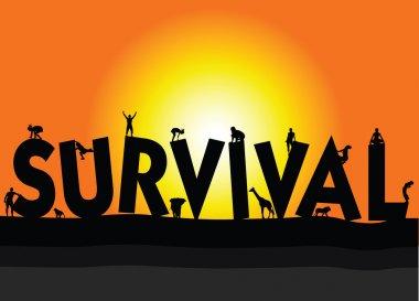 urvival illustration on a color background