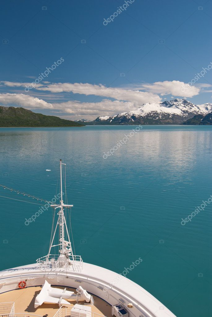 Cruise ship bow and scenery