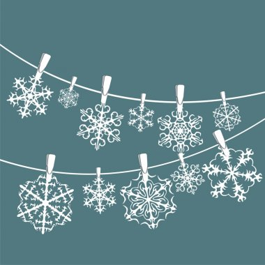 Vector set of snowflakes background