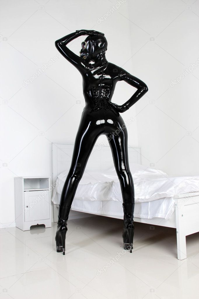 Fetish Black Latex Rubber Catsuit Girl with GasMask — Foto de Stock