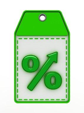 Green sign of percent